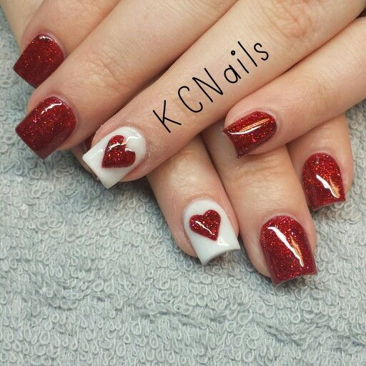 Valentines Day acrylic nails. Red ans white nails with a 3D acrylic heart KCNails