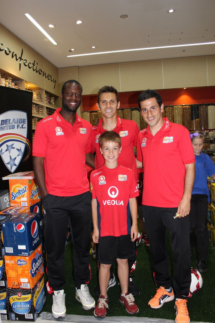 Our Oli with some of the players from his favourite football team; Adelaide United.