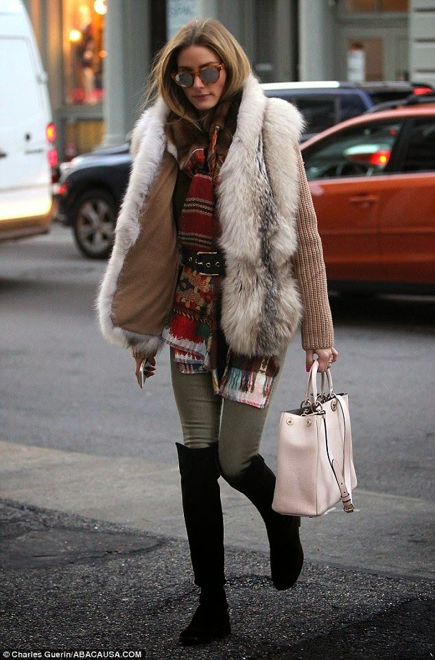 fur + jeggings + belted scarf + knee-high boots