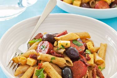 Pasta salad with olives and chorizo. Salads aren't only side dishes or accompaniments to mains - a good salad can be a feature dish in itself! A fresh salad meal gives you the opportunity to combine lots of different flavours and textures in one bowl.