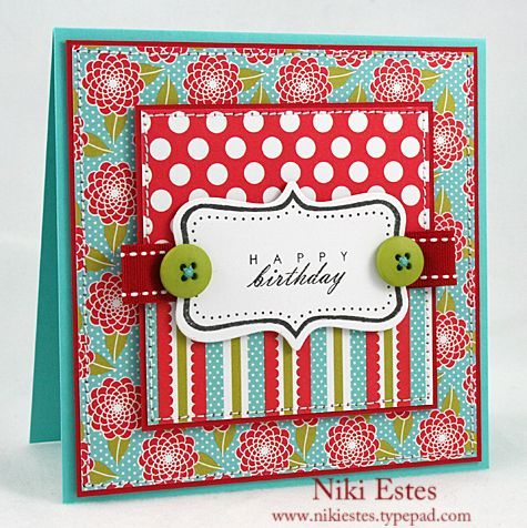 Fillable Frames 4, Beautiful Blooms paper  I like the way the ribbon is wrapped with the button.