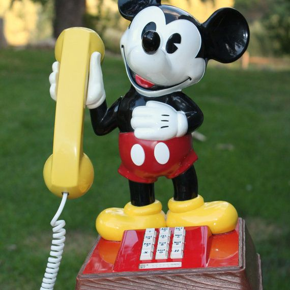 Vintage Disney Mickey Mouse Push Button Telephone by GetColorCrazy, $95.00