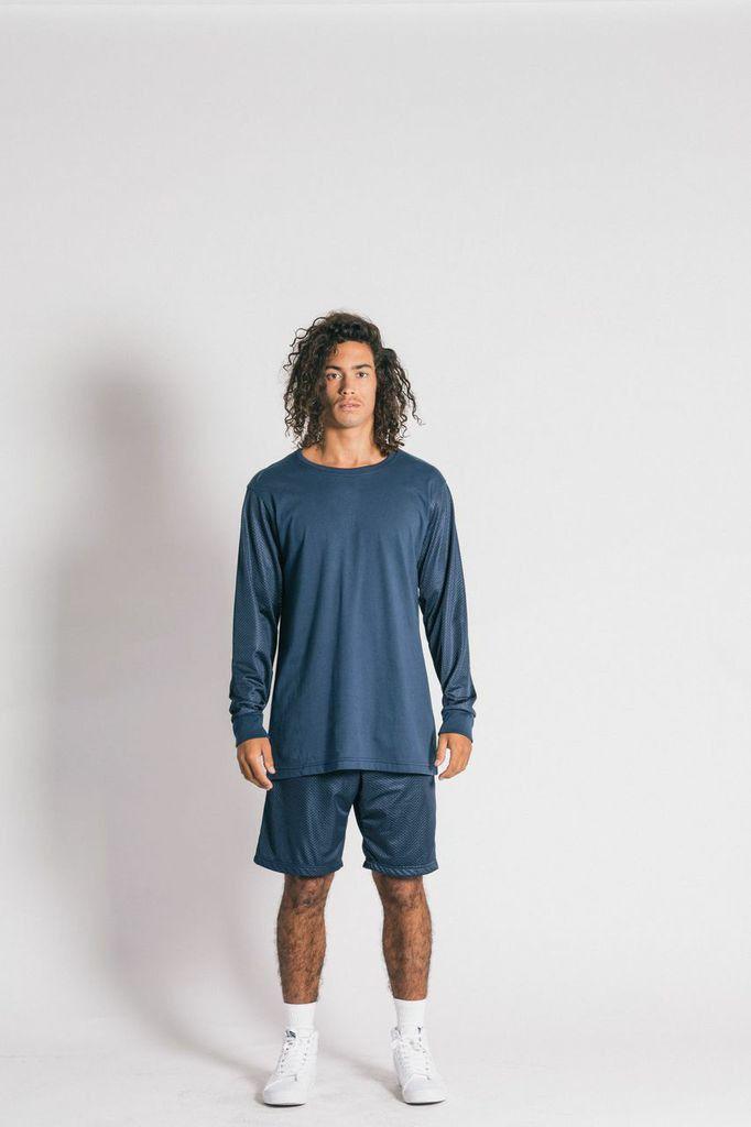 Ystrdaybone - Mesh Navy Long Sleeve T