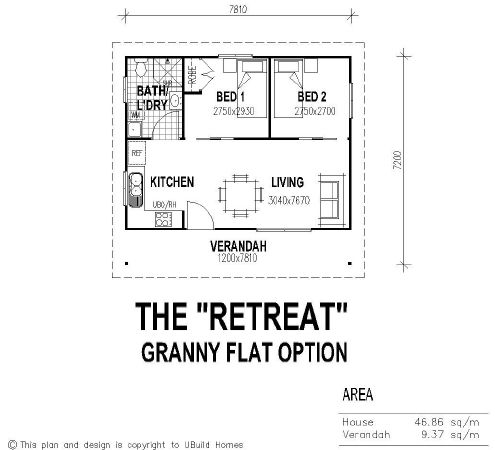 Tiny house single floor plans 2 bedrooms ubuild designs for Floor plan granny flat