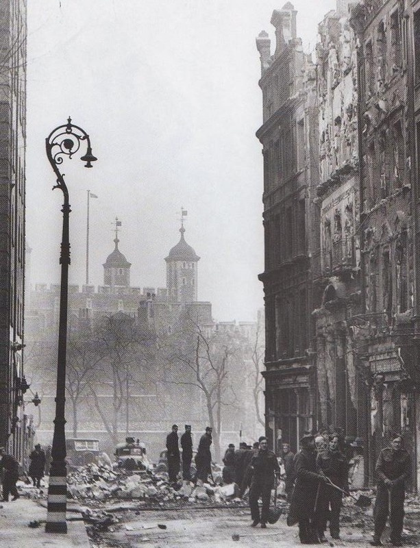 East London bombed, note the Tower of London in the background. RAF crew had no question they should mercilessly bomb German cities after the 1941 blitz on British cities.