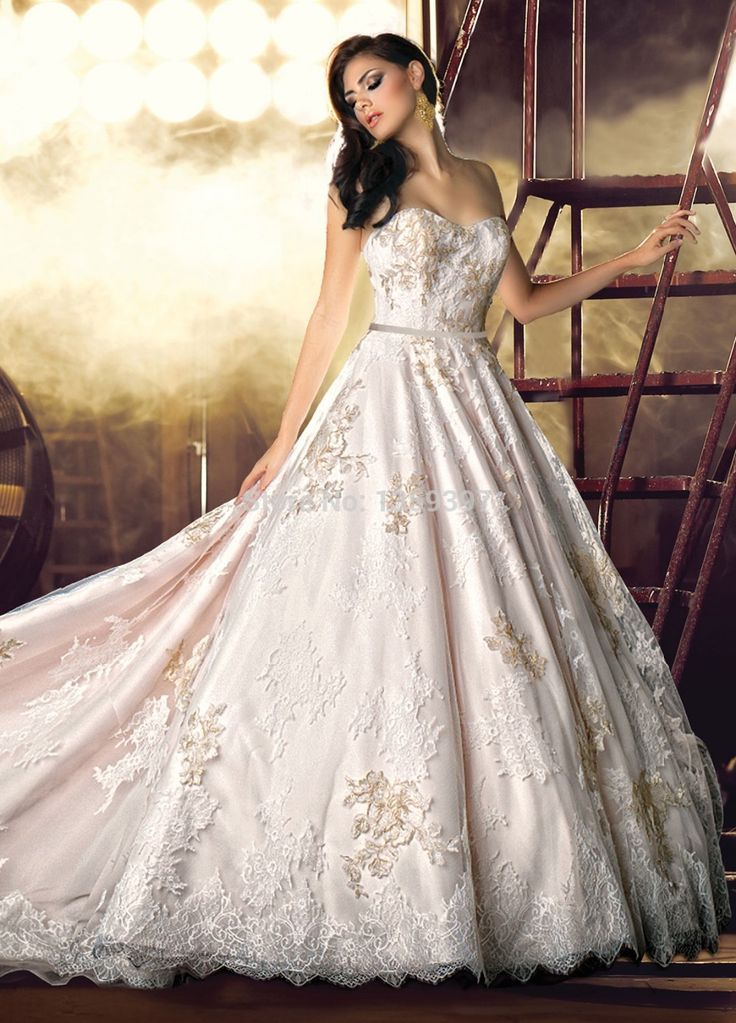 15 best gold wedding dress images on pinterest boyfriends bride white ivory sweetheart lace champagne for wedding ball junglespirit Image collections
