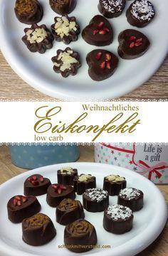 Weihnachtliches Eiskonfekt low carb Zur Weihnachtszeit gehört auch im Rahmen einer low carb Ernährung einfach was Süßes…. also Kekse und Schokolade. Mein weihnachtliches low carb Eisko…