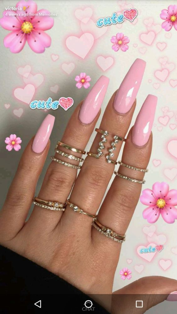 Beautiful Pink long nails. Are you looking for acrylic nail designs for  fall and winter? See our collection full of cute fall and winter acrylic  nail ... - 61 Acrylic Nail Designs For Fall And Winter Nails Nails, Acrylic