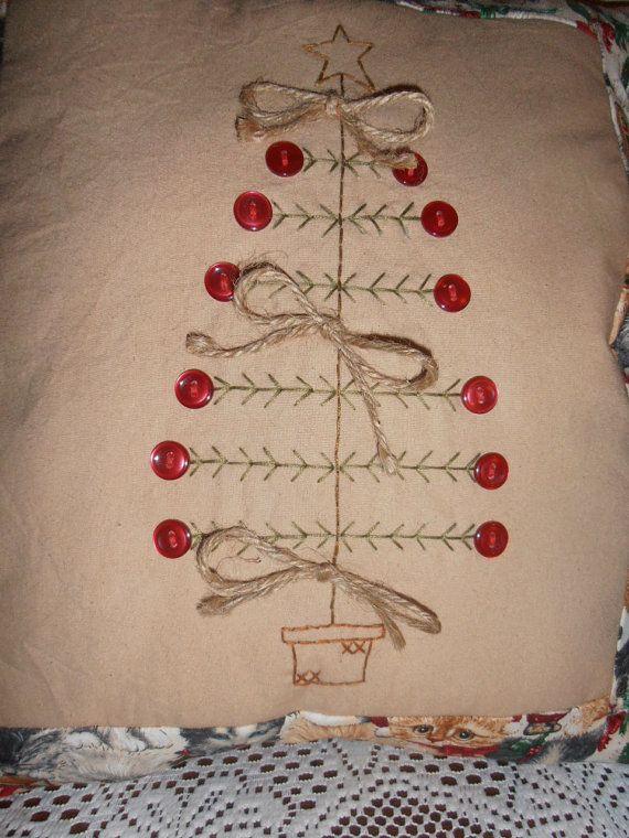 Primitive Stitchery Christmas Tree Pillow, Christmas Decor, Rustic, Sampler, Country Decor