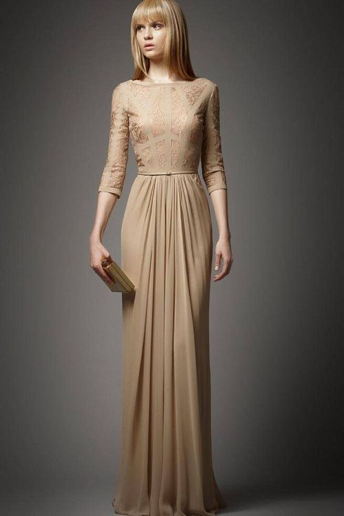 Elegant Peach,Beige and Golden Dresses Hijab Trends  23 Elie Saab 5374 xln