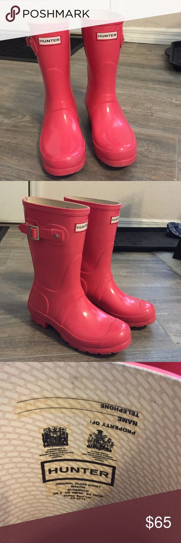 Pink Hunter Rain Boots (short) Pink hunters. A few scuff marks. Shown in pictures. Size 5f. Hunter Boots Shoes Winter & Rain Boots