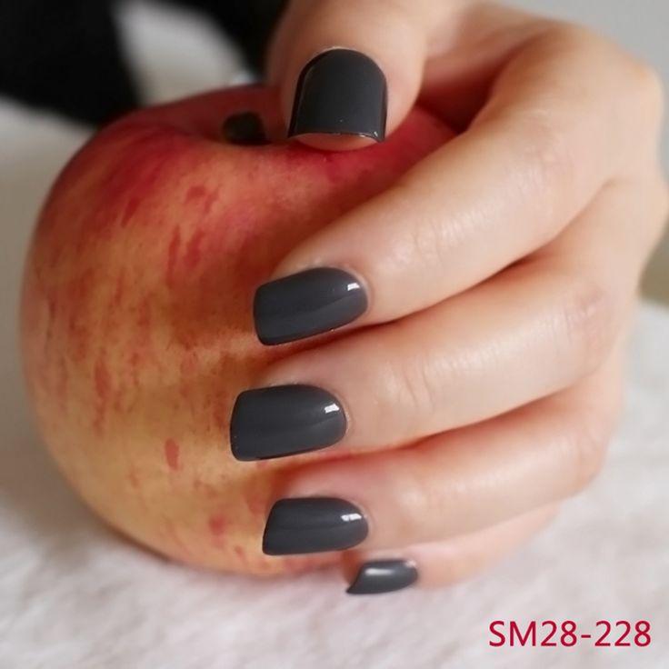 24 pcs New Acrylic Fake Nails Middle Paragraph Shiny Surface Finger False Nails Suger Design Pre-designed Gray-black Nail 228
