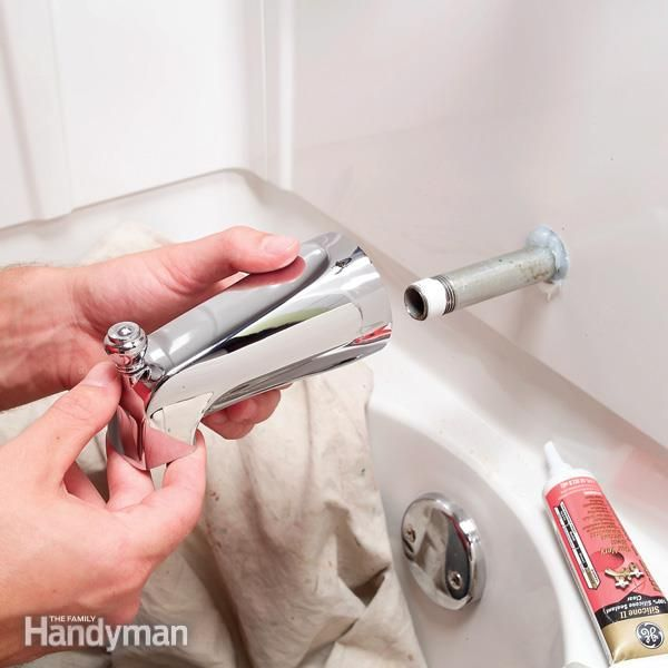 How to Replace a Bathtub Spout Cutaway photos show how to replace the three most common types of bathtub spouts when they are leaking or broken. Read more: http://www.familyhandyman.com/plumbing/faucet-repair/how-to-replace-a-bathtub-spout/view-all
