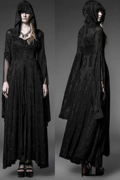 Theatre of Tragedy gothic coat by Punk Rave is made from a damask polyester. The gothic coat has a large hood and there are button fastenings down the centre front.