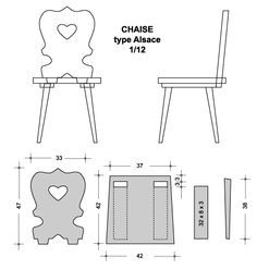 Miniature European folk art type chair - DIY for Alsatian dollhouse chair