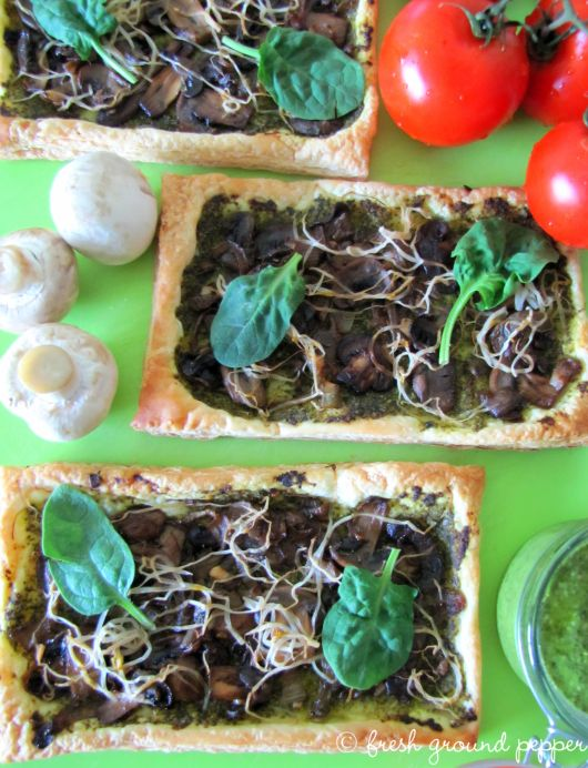 mushrooms & spinach pesto tart with bean sprouts