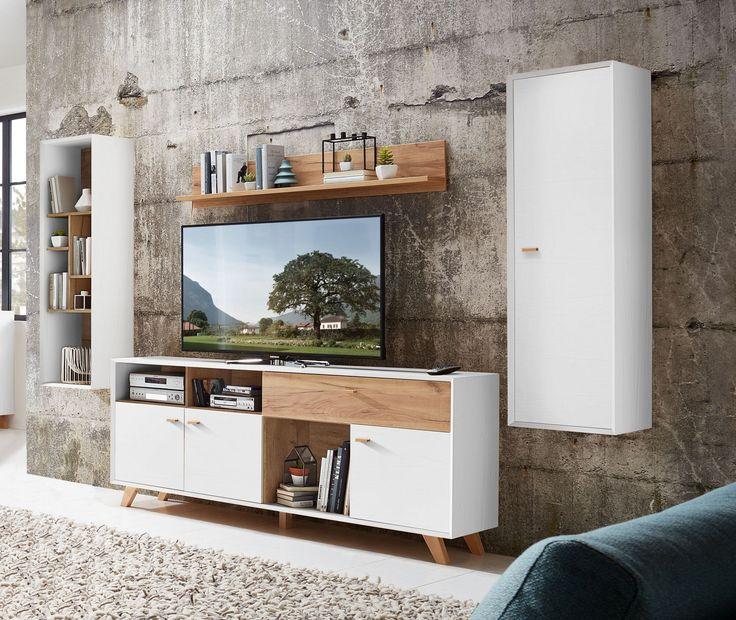 wohnwand in pinie weiss woody 121 00512 pinie weiss holz modern jetzt bestellen unter - Wohnwand Modern Klein