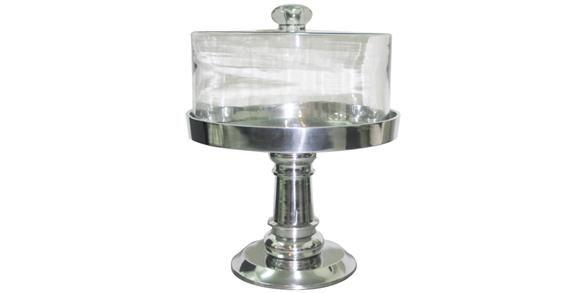 Aluminium Cake Stand w/ Glass Dome 30Dx37Hcm