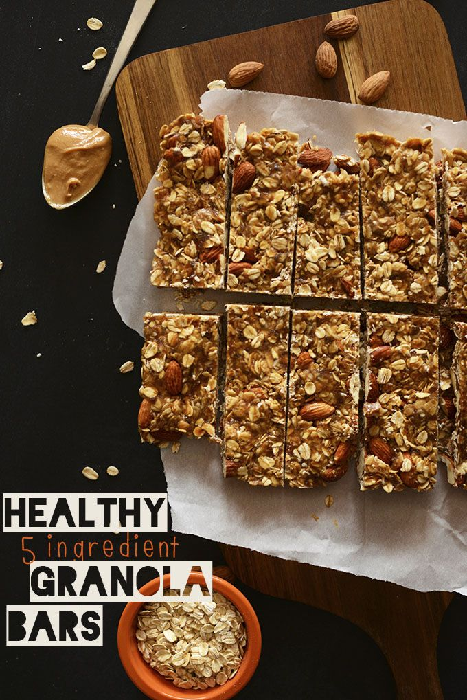 Healthy 5 Ingredient Granola Bars | Minimalist Baker | #recipe #vegan #vegetarian #glutenfree