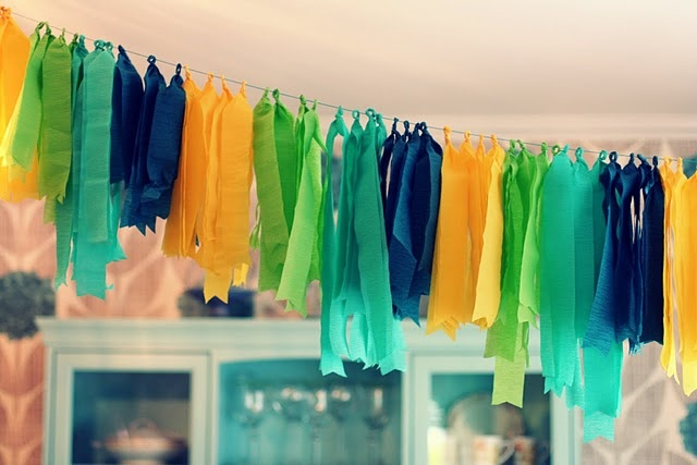 crepe paper streamer garland: cut lengths of crepe paper and lay out flat, twist about 1.5 inches in the center so it's thin and tight, wrap in a loop around string/twine/wire {so it creates a semi-loose ring} and then twist it upon itself at the base of the loop to hold in place