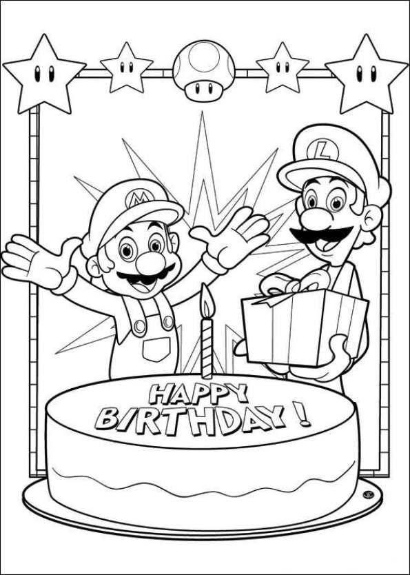 47 Disegni Da Colorare Di Super Mario Bros Happy Birthday