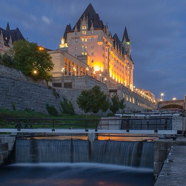 """Lights of the Chateau Laurier add colour to the Rideau Canal Locks on a beautiful summer's evening in downtown Ottawa."" - Thanks for the breathtaking share IGer @luketristanhayes!  For more information on Ottawa, please visit www.ottawatourism.ca"