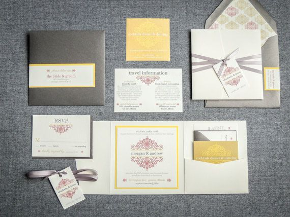 Grey, Red & Yellow, Beach Wedding Invitaitons Quinceanera, Bar / Bat Mitzvah Invitations, European Scroll - Pocketfold, 1 Layer, v2 -DEPOSIT