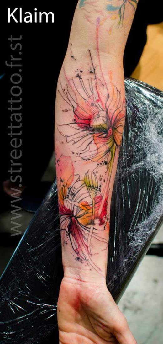 22 Incredible Watercolour Tattoos by Klaim + Niko Inko. Great pieces! Love the use of geometry and color flows. - Watercolor tattoo. Negative space. Single line. -
