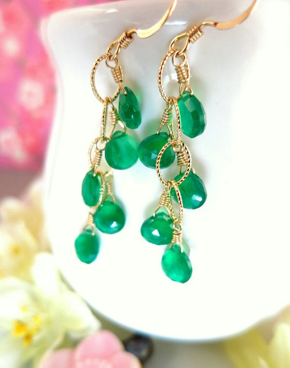 Emerald green onyx chandelier drop chain earrings by KBlossoms, $75.00