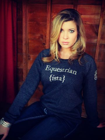 """""""In order to be irreplaceable, one must always be different.""""  Decorated in our studio - our trademarked signature line is truly original! Our Equestrian {ista} sweatshirt shines bright in or out of the saddle with chic silver glitter text. You'll love wearing this feminine fitting, extra-wide collar, sweatshirt. Made of a perfectly broken in feeling fleece, it already feels like it's been in your closet forever."""