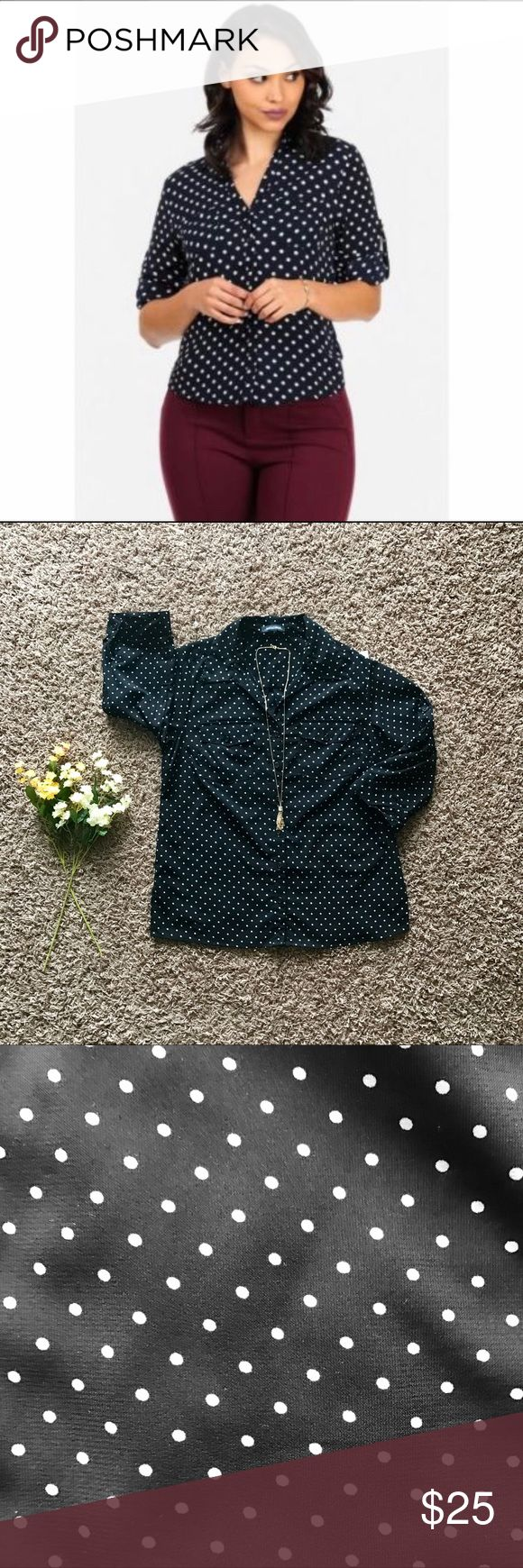 Polka dot button down shirt Your classic polka dot button down shirt. This piece is extremely comfortable and flowy, perfect for the upcoming seasons and very easily worn with any outfit! A must have ladies! Notations Tops Button Down Shirts