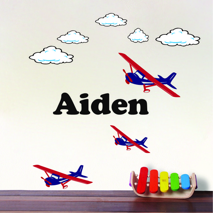 Airplane Boys Room Wall Decal _ Plane Monogram Wall Art Stickers _ Kids Plane Room Stickers _ Primedecals