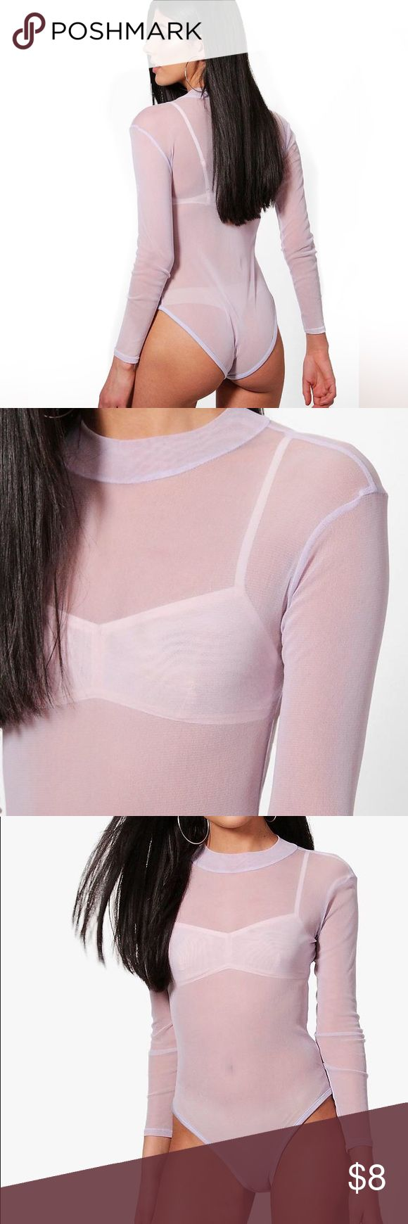"NWT Boohoo rose blush mock neck bodysuit New with tags & never worn. Pretty little rose colored sheer mock neck. So many styling options here.   Machine Washable. 100% Polyester. Flat Measurement of Garment Not Worn. Total Length 45cm/17.5"". Measured On UK Size 10. Model Wear UK Size 1 Boohoo Intimates & Sleepwear Shapewear"