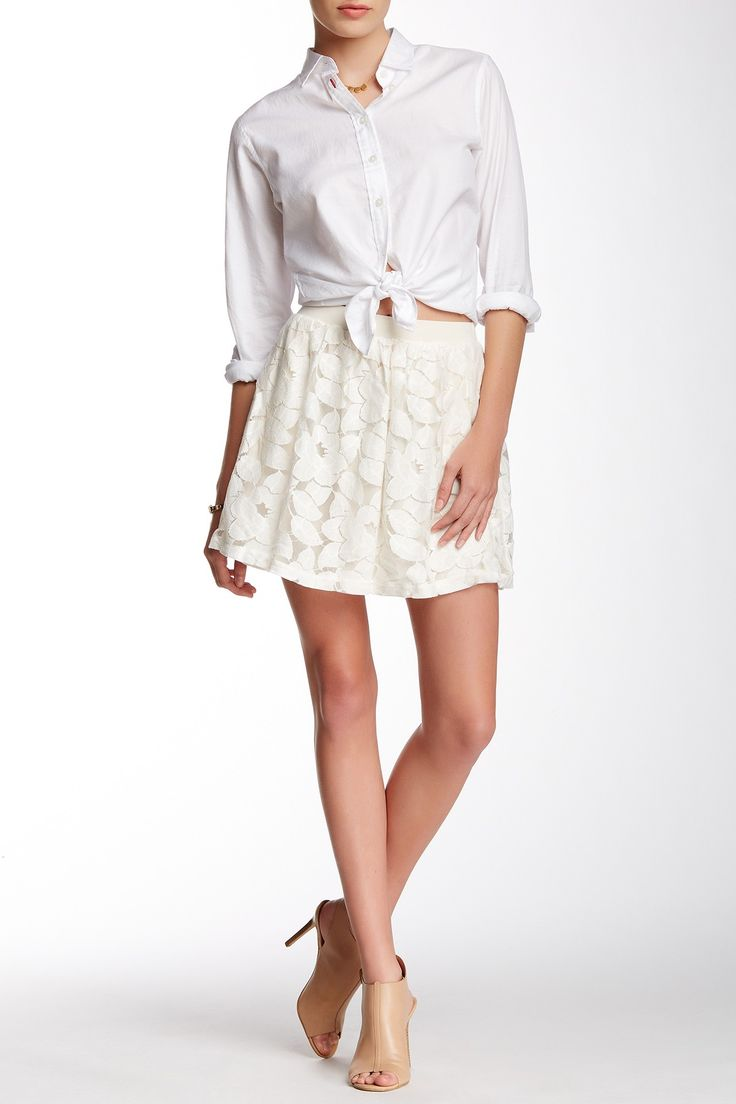 His Tied Shirt and a Cream Lace Skirt ~