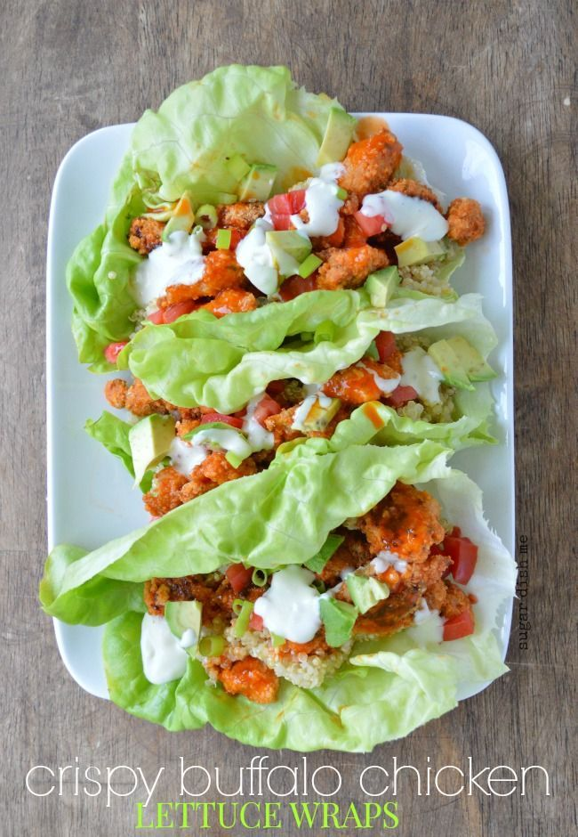 Buffalo Chicken Lettuce Wraps make a deliciously nutritious light and filling lunch or dinner. | Sugardishme