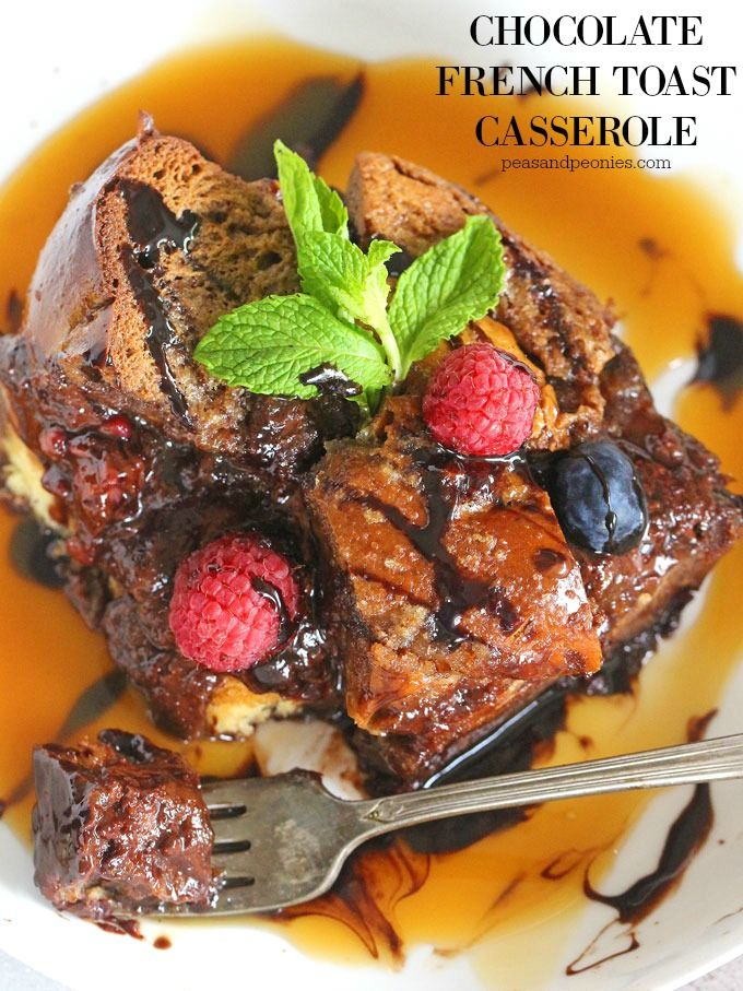 Chocolate French Toast Casserole made with Challah bread and soaked in a chocolate mixture overnight. This is the easiest and most delicious breakfast you can make.