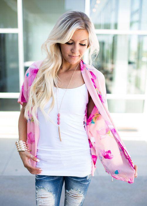 Pink Kimono, Online Boutique, Floral Kimono - Modern Vintage Boutique