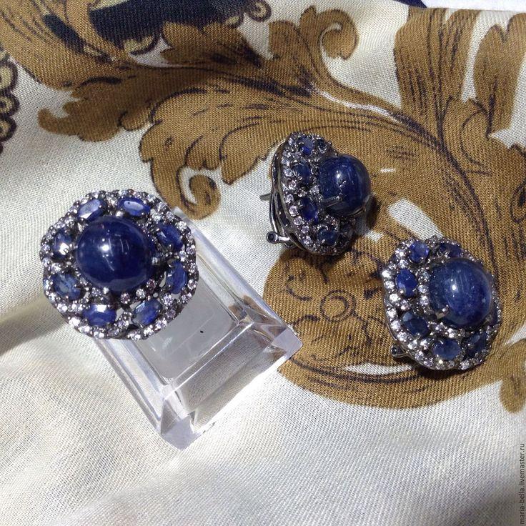 Купить Седьмое Небо. Серьги и кольцо с натуральным сапфиром в серебре - темно-синий, кольцо с сапфиром