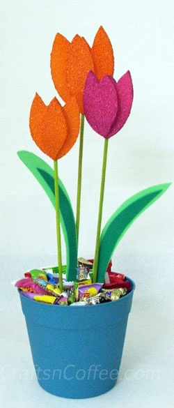 DIY candy bouquet with spring tulips