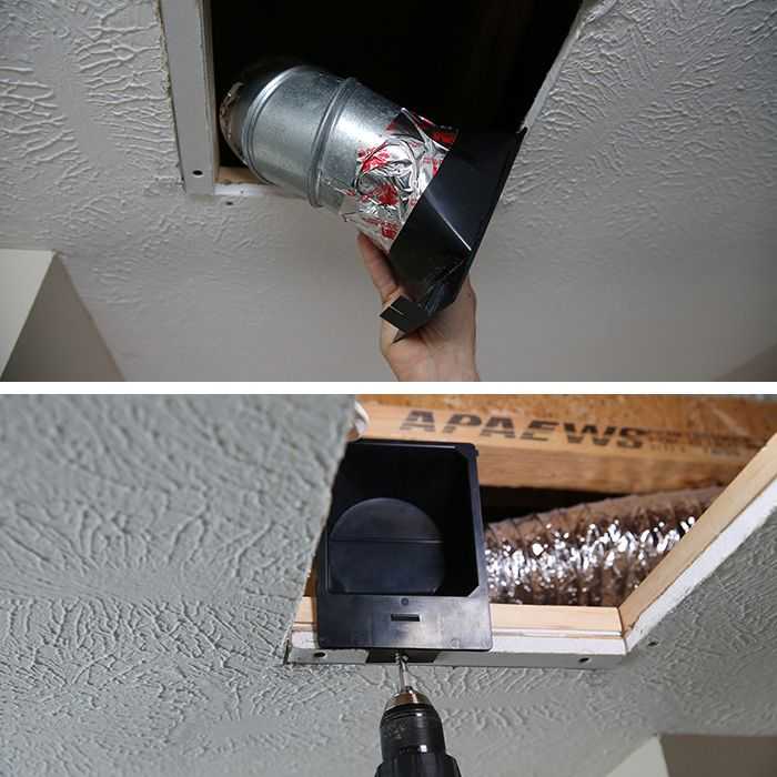 Attaching duct connector to duct. | Bathroom exhaust fan ...