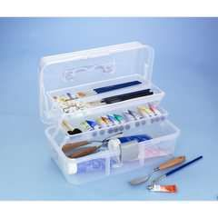 Förvaringsbox 16x30x15 cm 179,00 kr  Förvaringsbox, av vit, transparent plast, med handtag. 2 insatser med 10 fack i olika storlekar. 16x30 cm, höjd 15 cm. Till pennor, penslar, färgtuber m.m eller för sytillbehör, tråd och nålar etc. Levereras utan innehåll.