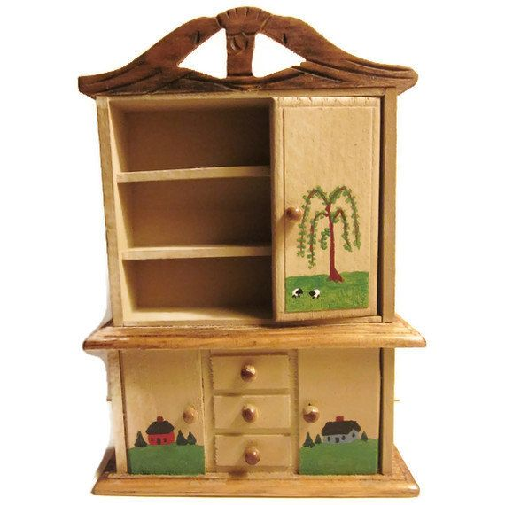 Dollhouse miniature primitive hutch by TurnersTinyTreasures, $25.00