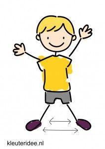 Bewegingskaart voor kleuters, benen openen en sluiten, kleuteridee.nl, free printable moving cards for preschool