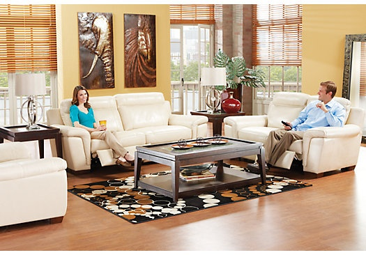 Shop For A Cindy Crawford Home Villa Toscana Leather 5 Pc Living Room At Rooms To Go Find