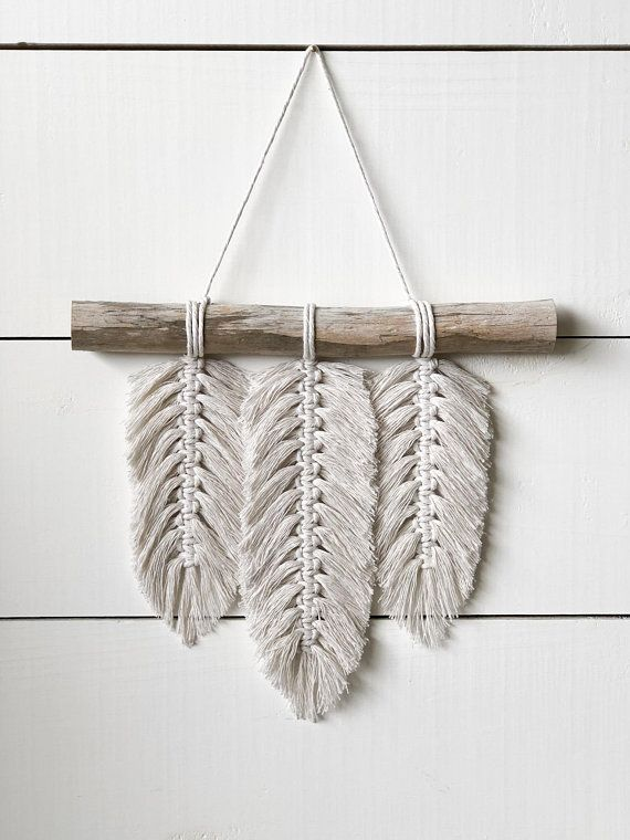 Small Macrame Wall Hanging – Feathers – Macrame Feathers – Macrame Home Decor – Home Decor – Boho Decor – Boho Art – Boho Feathers – Macrame