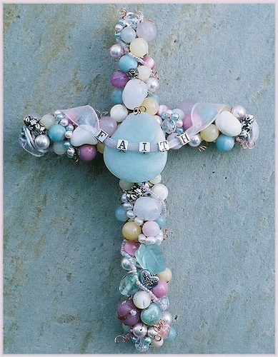 6 inch beaded wire Wall Cross inspiration with alphabet beads FAITH