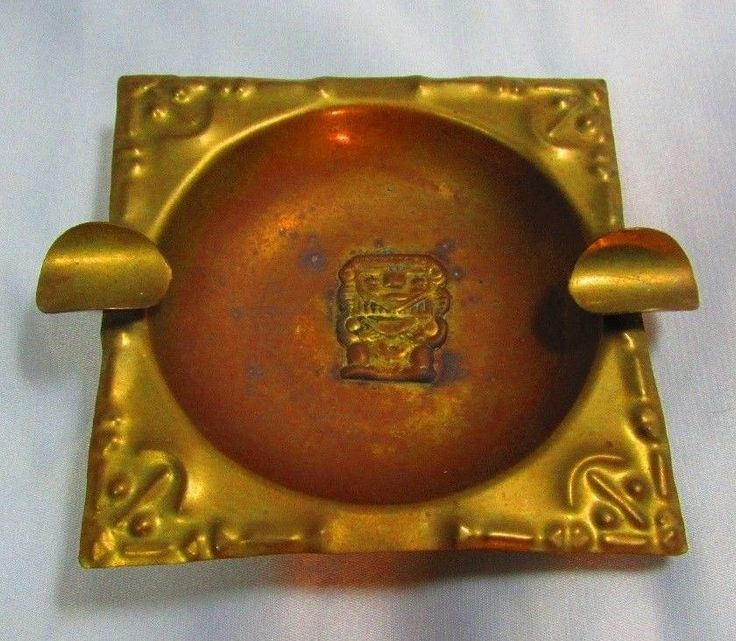 Vintage Art Deco Metal Ashtray Handmade Artesanias El Lago BOGOTA UNIQUE