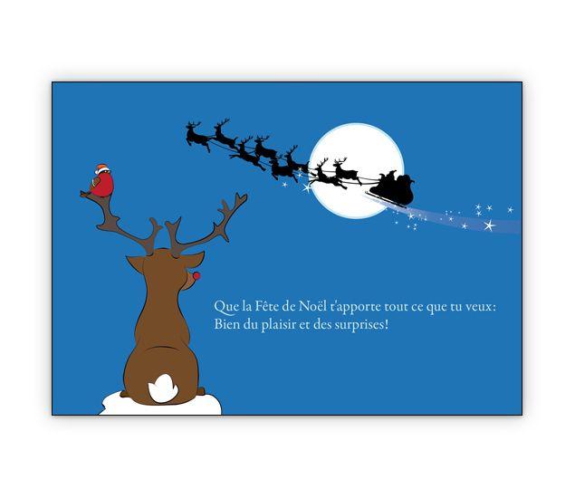 Niedliche franz. Weihnachtskarte mit Rentier, Weihnachtsmann Schlitten - http://www.1agrusskarten.de/shop/niedliche-franz-weihnachtskarte-mit-rentier-und-weihnachtsmann-schlitten-que-la-fete-de-noel-tapporte-tout-ce-que-tu-veux-bien-du-plaisir-et-des-surprises/    00000_1_2443, Grusskarte, Klappkarte Rentier, Santa Sterne, Schneemann, Tanne, Weihnachtsbaum Engel, Weihnachtsmann, Winter00000_1_2443, Grusskarte, Klappkarte Rentier, Santa Sterne, Schneemann, Tanne, Weihnachtsbau