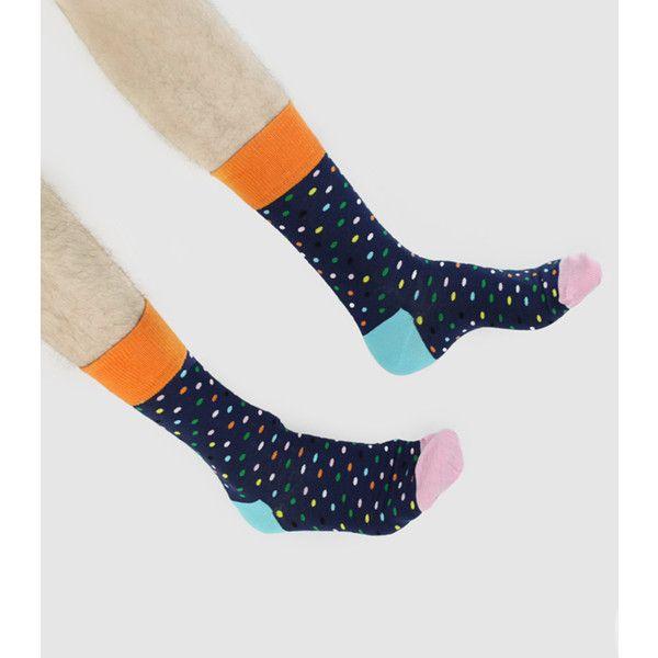 Happy Socks Dot Socks ($10) found on Polyvore featuring intimates, hosiery, socks, men, colorful socks, dot socks, polka dot hosiery, colorful cotton socks and multi color socks