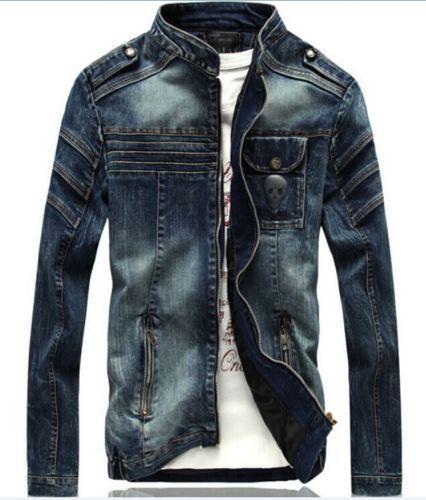 Trendy Men's Denim Jeans Long Sleeve Slim Fit Zipper Motor Jacket Coat Outwear #Other #BasicCoat